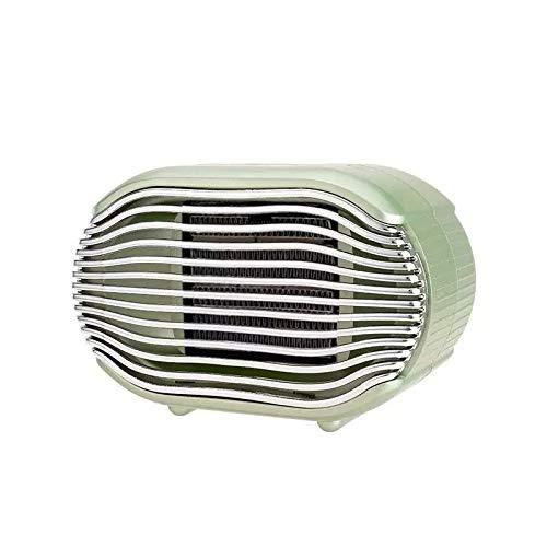 Mini Calefactor eléctrico cerámico para baño, escritorio, habitación de bajo consumo, 3 Segundos Calentamiento Rápido 2 intensidades de caudal, 800 W, Portátil Aire Caliente apagado Automático Verde