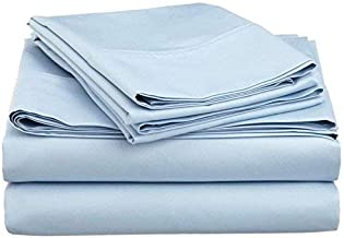 "Mat's Linen Egyptian Cotton 4-Piece Sheet Set Fits Upto 14-15"" Deep Pocket 600 Thread Count Solid # Exotic Bedding Collection California King Blue"
