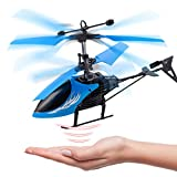 Remote Control Helicopter Flying Toys, Mini Led Rechargeable Hand Operated Drone with LED Light for Kids, Boys Girls Indoor Outdoor Games