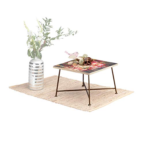 Native Home Table d'Appoint Vintage Motif à Fleurs, Bois Manguier & Métal Petite Table Basse de Salon 28x40x40cm, Coloré