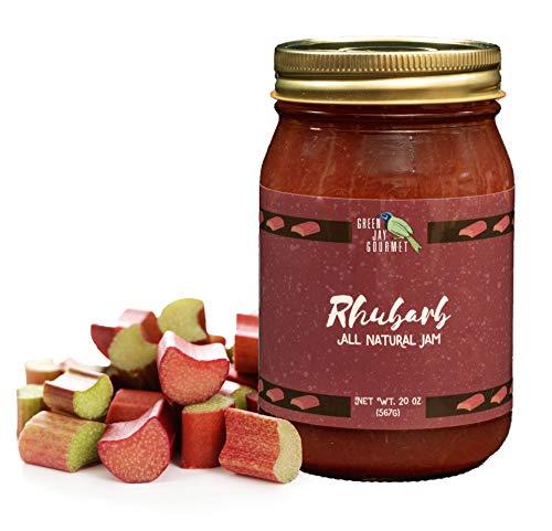 Green Jay Gourmet Rhubarb Jam - All-Natural Fruit Jam with Rhubarb & Lemon Juice - Vegan, Gluten-free Jam - Contains No Preservatives or Corn Syrup - Made in USA - 20 Ounces