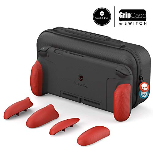 Skull & Co. GripCase Set: A Dockable Protective Case with Replaceable Grips [to fit All Hands Sizes] for Nintendo Switch - Mario Red