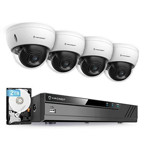 Amcrest 5MP Security Camera System, 4K 8CH PoE NVR, (4) x 5-Megapixel 2.8mm Wide Lens Weatherproof Metal Vandal Dome PoE IP Cameras, Pre-Installed 2TB Hard Drive, NV4108E-IP5M-D1188EW4-2TB (White)