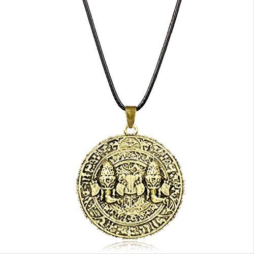 xtszlfj Spiel Uncharted The Lost Legacy Halskette Antike Münze Metall Anhänger Mode Seil Kette Halsketten Charme Geschenke für Männer Frauen