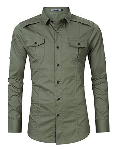 KUULEE Men's Casual Slim Fit Short Sleeve Button Down Dress Shirts Cargo Shirt (S, Army Green-1)