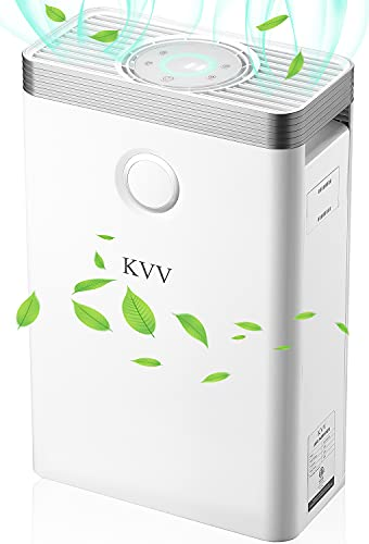 KVV Air Purifiers for Home Large Room, Up to 1000 Sq Ft Coverage, 99.97% High Efficient H13 True HEPA Filter Cleaner, Quiet Flow Air Purifier in Bedroom, Office, Allergies and Pets Hair Smokers, Dust Pollen