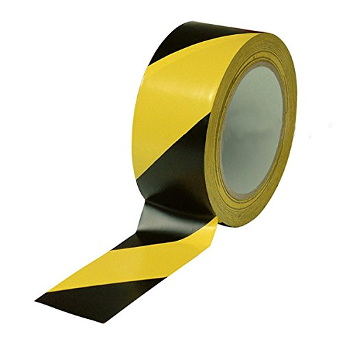 Black & Yellow Hazard Warning Safety Stripe Tape • 2 Inch x 108 Feet • Ideal for Walls, Floors, Pipes and Equipment.