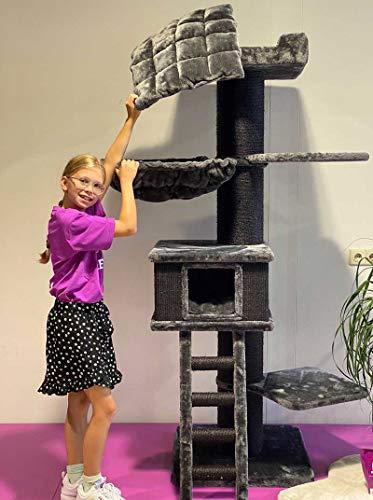 Petrebels Kratzbaum Grosse Katzen stabil Ragdoll 180 Schwarz XXL Kratzmöbel für Maine Coon und große Katzen