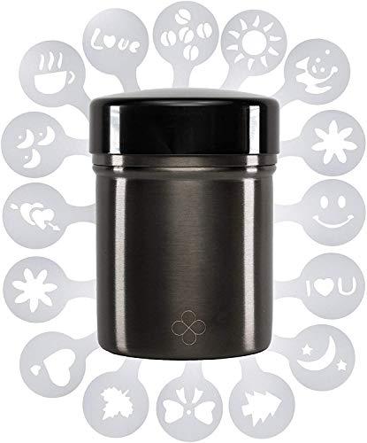 Zuuno | Kakaostreuer/Puderzuckerstreuer mit 16 verschiedenen Schablonen | schwarz matt | aus hochwertigem 304 Edelstahl & leicht öffen-, und verschließbarem Drehverschluss