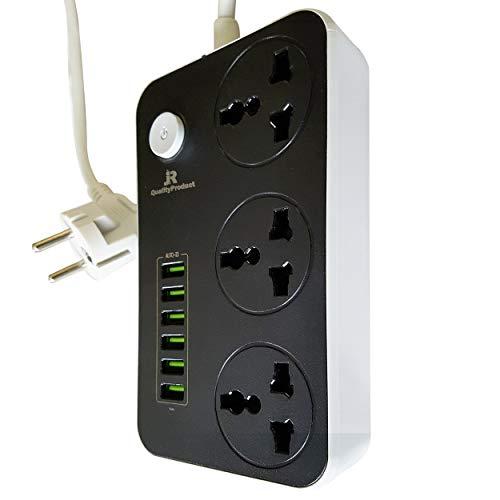 Travel Multi Verlängerung mit 6 USB-Ausgängen, kein Adapter erforderlich, Flex mit 2 Pin Euro Typ F Schuko-Stecker Version 2