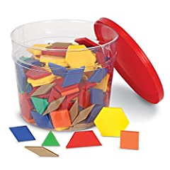 250-PIECE SET: Features 6 different shapes and colors, and is great for classroom activities MOTIVATE: Get young students learning geometry and pattern design TEACHER GUIDE: Comes with storage bucket and not only helps educators stay organized, but p...