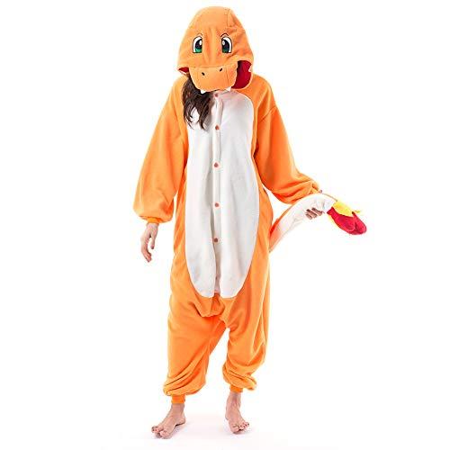 Beauty Shine Unisex Adult Cartoon Charmander Halloween Costume Plush Pajamas (XL, Charmander)
