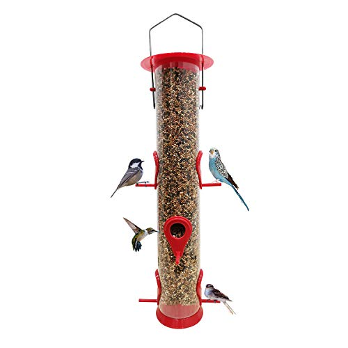 Bird Feeder Hanging Classic Tube Hanging Feeders with 6 Feeding Ports Premium Hard Plastic with Steel Hanger Weatherproof and Water Resistant Great for Attracting Birds Outdoors Garden Backyard
