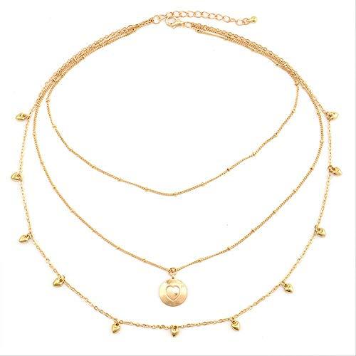 XJJSZJ Collane Herz Liebe Glockenkette Anhänger Multilayer Halskette Lady Exquisite Party Hochzeit Goldene Halskette Set