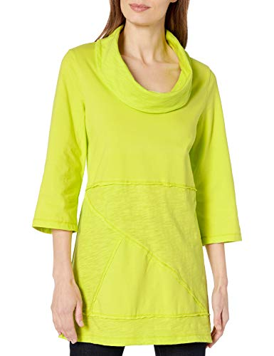 Neon Buddha Women's 100% Cotton Top Female 3 4 Sleeve Tunic with Cowl Neck and Exposed Seams,Lime Surf,Medium