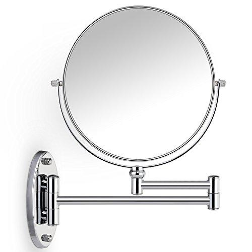 Miusco Wall Mounted Makeup Mirror, Premium 7X Magnifying 8'' Two-Sided Bathroom Vanity -