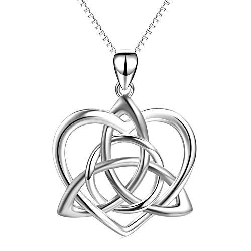 Collar con colgante de nudo celta de plata de ley con diseño de corazón y triquetra celta irlandesa para mujeres y niñas