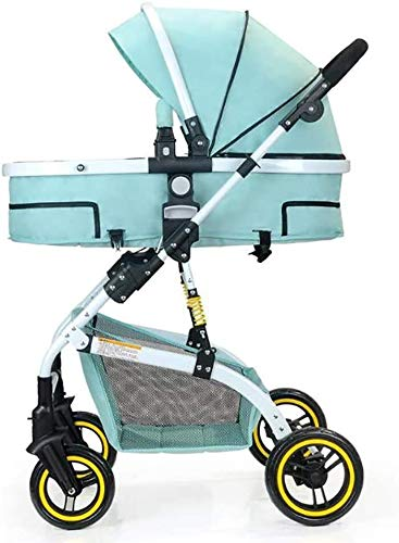 LAMTON Baby Stroller High Landscape, City Jogging Four-Wheel Collapsible Two-Way Shock Adjustable Baby Stroller to Send Mosquito Net Cotton Pad Foot Cover Wrist Band, Suitable for 0-36 Months Baby LAMTON This double stroller features an aeronautical aluminum frame that makes it lighter and stronger, and the fabric is made from linen for a more breathable and refreshing look. The front wheel design of the stroller can be rotated 360°, the built-in spring shockproof, strong shockproof, adapt to a variety of review roads, making the baby more comfortable. Stroller configuration: equipped with a five-point seat belt, detachable armrests, adjustable pusher height, and an enlarged basket at the bottom. 1