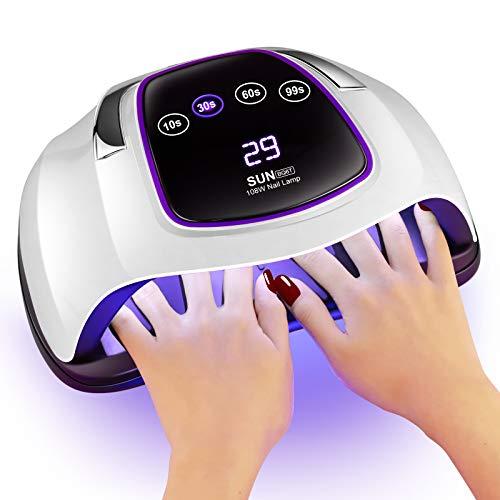 Gel UV LED Nail Lamp,Villsure 108w Nail Dryer UV LED Gel Nail Polish...