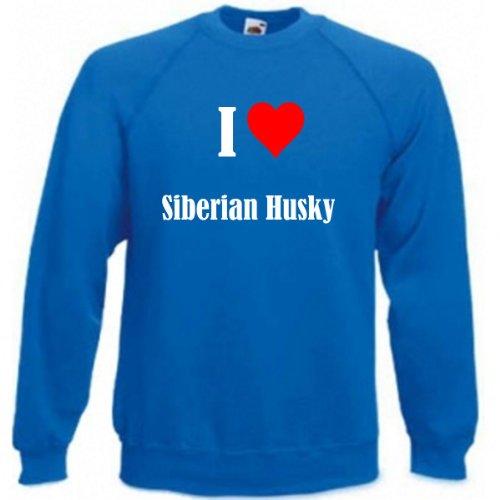 Reifen-Markt Sudadera con texto 'I Love Siberian Husky para mujer, hombre y niños en los colores negro, blanco y azul con estampado azul L