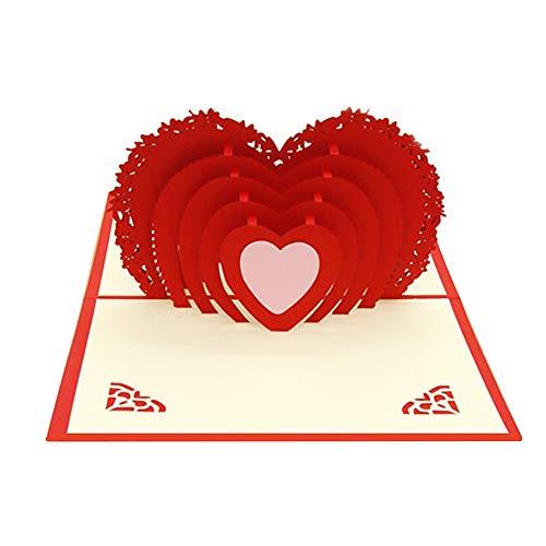 Moligin Pop-up-Rosen-Karte 3D Grußkarte Rote Rose Valentines Karten Für Ihre Hochzeit Grußkarte Geschenk Zum Valentinstag Geburtstag Jahrestag