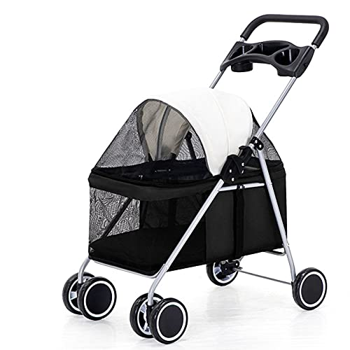 Pet Stroller, Dog Pram Dog Carrier,Detachable, Built-In Removable and Washable Cotton Pad, High-Strength Breathable Mesh, Strong and Easy To Store,Black