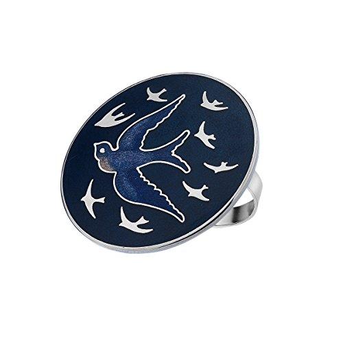 Schal Ring–Emaille Schwalben in Flight–blau