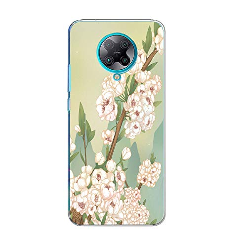 Case Compatible with Xiaomi Poco F2 Pro Case Clear Flower Floral Pattern Design Transparent Slim Soft TPU Back Cover Bumper Protective Case Cover for Xiaomi Poco F2 Pro
