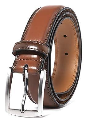 Brown Mens Belt Leather Classic Dress Belt (40, Brown)