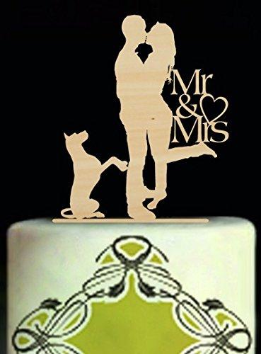 happygoluck1y Beso de Novia y Novio Boda Figuras de Señor y señora con Perro romántico Silueta Vintage Boda para Tartas