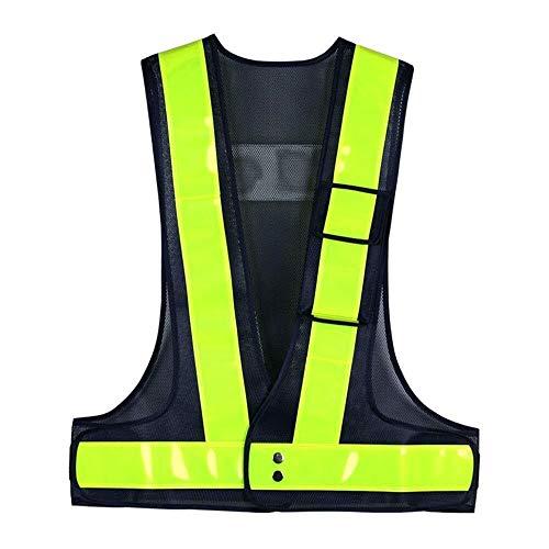 Salut Vis Vest - haute visibilité extérieure Waistcoat trafic nocturne Avertissement Vêtements réflecteur avec bandes réfléchissantes haute visibilité Gilet for les travaux extérieurs, vélo, marche, S