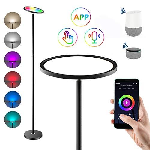 Anten LED Stehleuchte, Stehlampe Dimmbar RGB und Farbtemperaturen, Intelligente Standleuchten mit Alexa und Google APP, 25W Deckenfluter(Schwarz) für Wohnzimmer, Schlafzimmer, Büro, Kneipe, Hotel