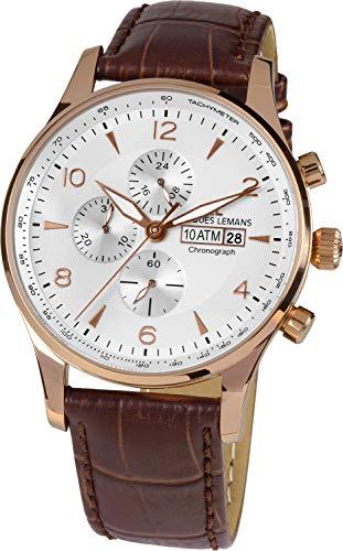 Jacques Lemans 1-1844F-Reloj de Pulsera analógico de Cuarzo y Piel para Mujer