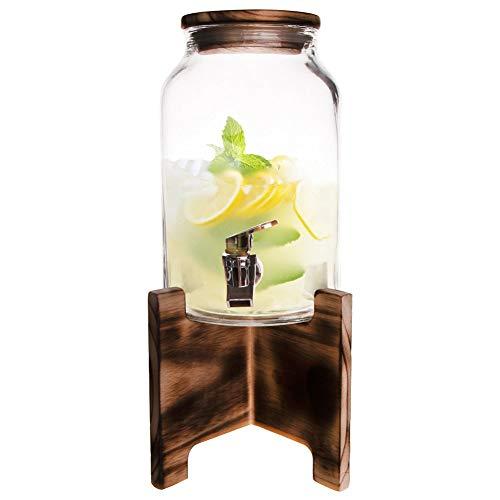 ORION GROUP Getränkespender Glas Limonadenspender Zapfhahnflasche mit Zapfhahn im Set mit Ständer Gläser Trinkgläser Cocktail Drinking Retro 4,2 L