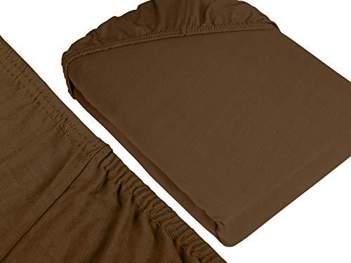 npluseins klassisches Jersey Spannbetttuch – erhältlich in 34 modernen Farben und 6 verschiedenen Größen – 100% Baumwolle, 70 x 140 cm, schokobraun - 3