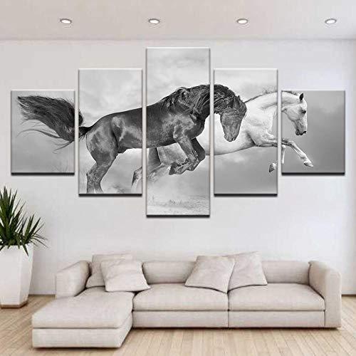Hd-Afbeeldingen Schilderij Modulair Landschap Afdrukken Op Canvas Frameloze Zwart-Wit Paard Dier Landschapsschilderkunst Huis Wanddecoratie Schilderij Canvas Inkjet Schilderij