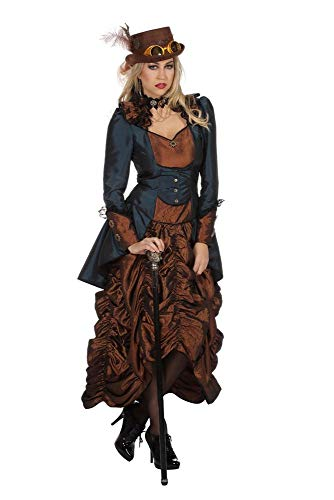 shoperama Steampunk Kleid Braun/Blau Damen-Kostüm Burning Man viktorianisch Industrial Retro-Futurismus hochwertig, Größe:48