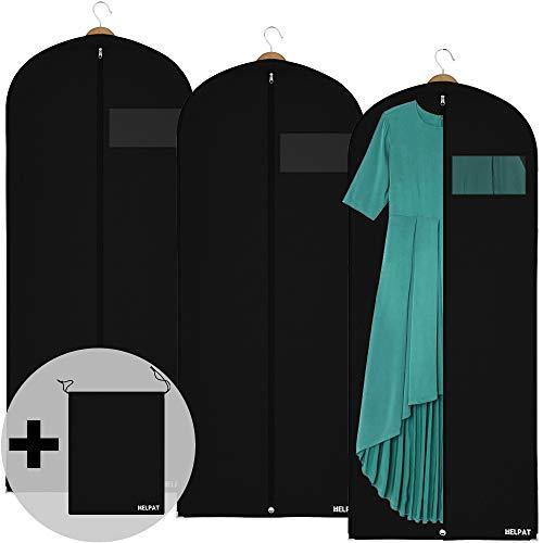 HELPAT 3X robuster Kleidersack inkl. Schuhbeutel – 150 x 60 cm – Premium Kleiderhülle aus atmungsaktivem Stoff – Große Kleidertasche, optimal zur Kleideraufbewahrung – Praktisches Set für unterwegs