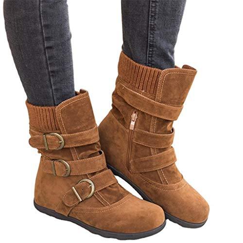 UMore Botas Estilo Motero Mujer Botas de Nieve Zapatos para Invierno Mujer Piel Forradas Calientes Casual Calzado Antideslizante Botines