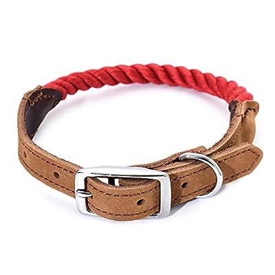 "Mile High Life | Premium Cotton Rope Dog Collar | Stainless Steel Pin Buckle Ring Dog Collar | Genuine Leather Belt Collar | for Medium Dog Large Dogs(Navy Medium Neck 14""-18"" -40 lb)"