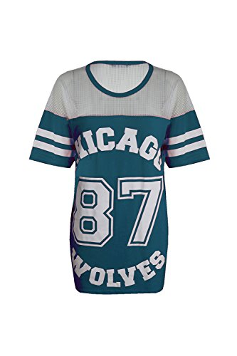 Damen T-Shirt Chicago 87 Wolves Lockeres Übergroßes Baseball T-Shirt Kleid Langes Top - S/M (EU 36/38), Blau