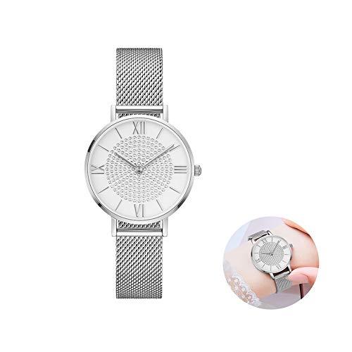 Quartz Horloges Voor Vrouwen, Ultradunne Staal Mesh Bandje Waterdicht Dameshorloge Van Diamond Dial Female Horloges, Zilver