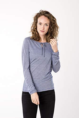 super.natural WRELAX LS T-Shirt à Manches Longues pour Femme en Laine mérinos Bleu chiné Taille XL