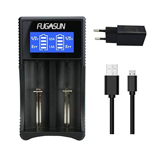 18650 Cargador de Batería,LCD 18650 USB Cargador de Batería para Li-Ion/Ni-MH/Ni-CD 26650,22650,20700,18650,18490,18350,17670,17500,16340 (RCR123), 14500,10440 (USB Cargador con Adaptador)