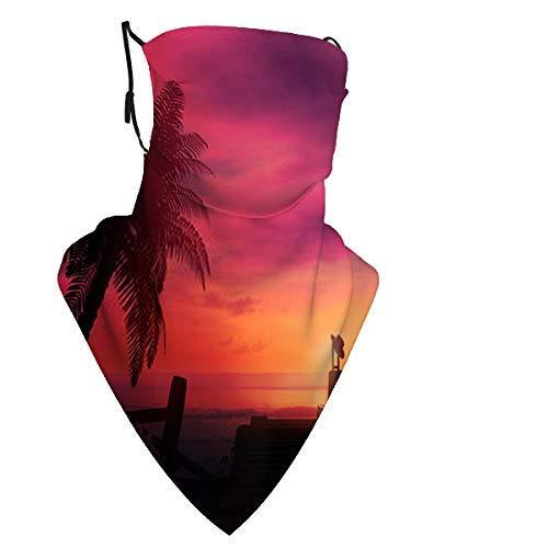Maleta solitaria en una puesta de sol en el océano V Cubierta facial Protección UV Cuello polaina Bufanda Protector solar Transpirable Ban