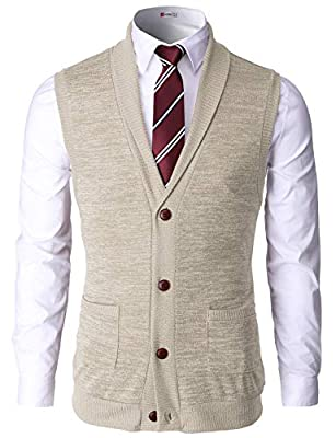 H2H Mens Classic Casual Basic Designed Shawl Collar Knitted Slim Fit Gilet Ivory US L/Asia XL (CMOV034) by