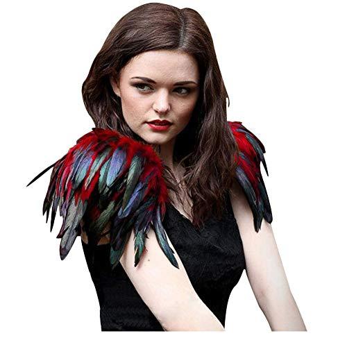 L'VOW - Disfraz de mujer gótico negro con plumas, tapa para el hombro, alas de ángel, capa