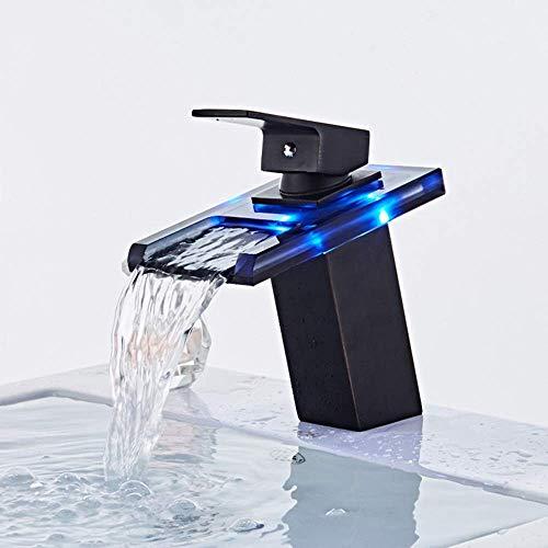 Yongenee Moderna llevada del Grifo de Temperatura Inteligente de Control de Color cambiante del Grifo del Lavabo del baño de Cristal de Cobre Cuenca Cascada Debajo del Grifo de la práctica Hermosa