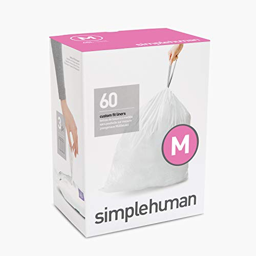 simplehuman Code M Custom Fit Drawstring Trash Bags, 45 Liter / 12 Gallon, 60 Pack, White