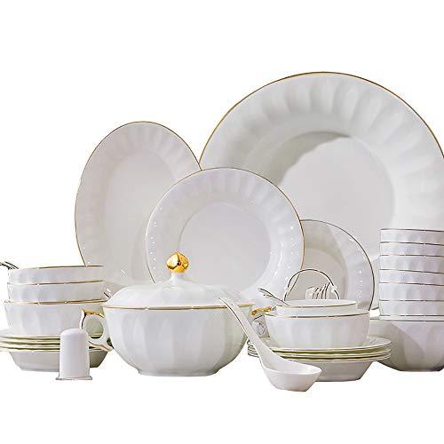 Juego de vajilla de Porcelana de Hueso de 40 Piezas, Cocina, Cuencos...